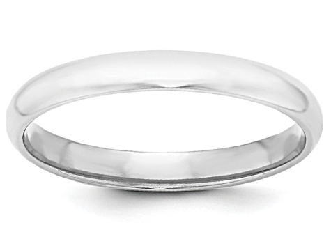 14k White Gold 3mm Half-Round Band Ring