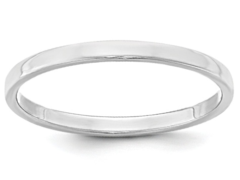 14k White Gold 2mm Flat Band Ring