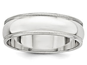 14k White Gold 6mm Milgrain Band Ring