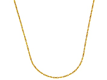 Picture of 14k Yellow Gold Diamond Cut Bar Link Chain Necklace 16 inch 1mm