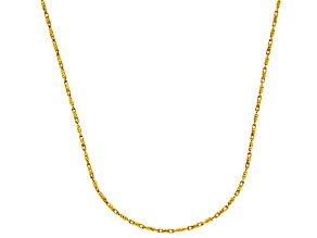 14k Yellow Gold Diamond Cut Bar Link Chain Necklace 16 inch 1mm