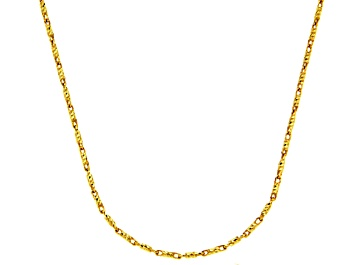 Picture of 14k Yellow Gold Diamond Cut Bar Link Chain Necklace 18 inch 1mm