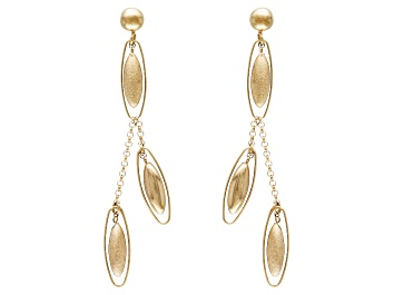 Picture of 14k Yellow Gold Hollow Satin Oval Bead Dangle Earrings
