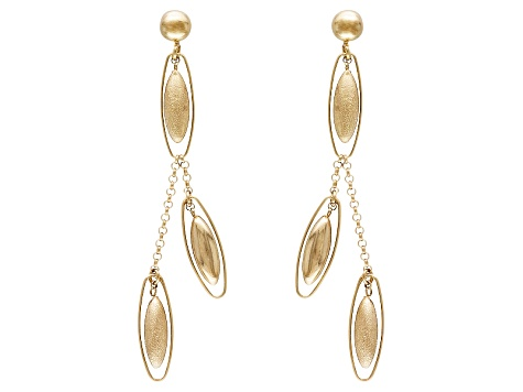 14k Yellow Gold Hollow Satin Oval Bead Dangle Earrings