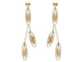 14k Yellow Gold Hollow Satin Oval Bead Dangle Earrings