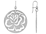 14k White Gold Floral Cut-Out Dangle Earrings
