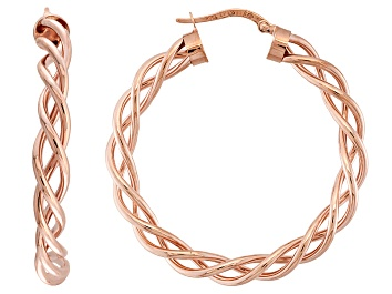 Picture of 14k Rose Gold Twisted Tube Hoop Earrings