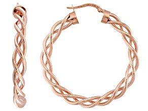 14k Rose Gold Twisted Tube Hoop Earrings