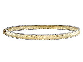 14k Yellow Gold Two-Tone With Rhodium Diamond Cut Edge Bracelet 6.5 inch
