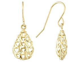 10k Yellow Gold Teardrop With Cut Out Hearts Dangle Earrings Tubing