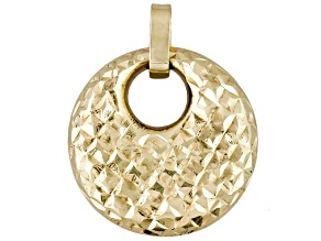 10k Yellow Gold Diamond Cut Hoop Pendant Tubing