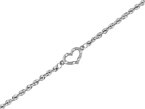 14k White Gold Rope Link With Heart Anklet Tubing