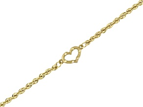 14k Yellow Gold Rope Link With Heart Anklet Tubing