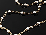 14k Yellow And White Gold Bead Station Cable Link Anklet Tubing