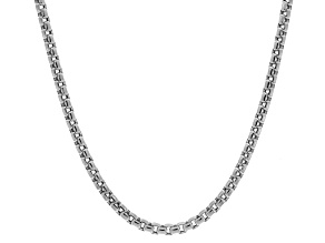 14k White Gold Hollow Box Link Chain Necklace 24 inch