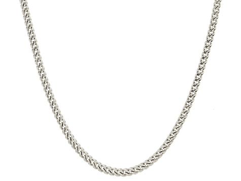 14k White Gold Hollow Franco Link Chain Necklace 20 inch