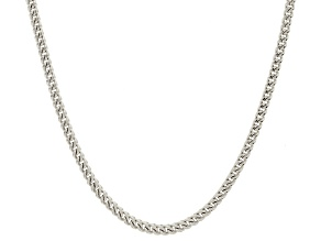 14k White Gold Hollow Franco Link Chain Necklace 24 inch