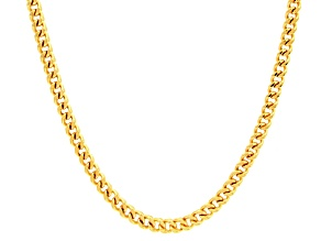 14k Yellow Gold Hollow Franco Link Chain Necklace 24 inch