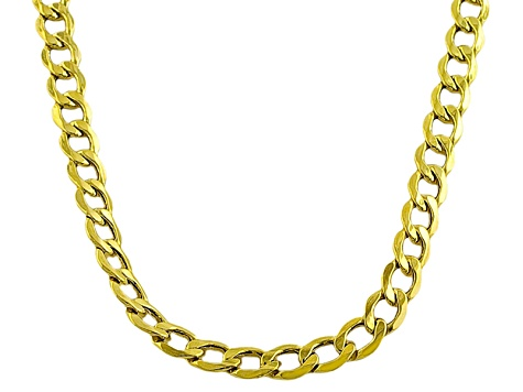 10k Yellow Gold Hollow 5.5mm Curb Link Chain Necklace 20 inch