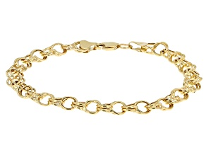 10k Yellow Gold Hollow Double Charm Link Bracelet 7 inch