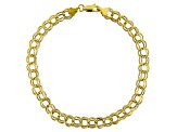 10k Yellow Gold Hollow Double Charm Link Bracelet 8.5 inch