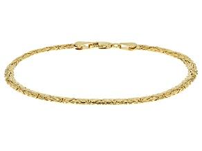 10k Yellow Gold Hollow 4mm Byzantine Link Bracelet 7.5 inch