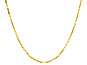 14k Yellow Gold Curb Link Chain Necklace 18 inch 2mm