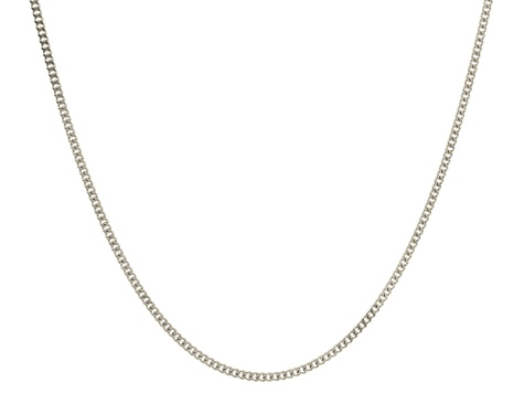 14k White Gold Curb Link Chain Necklace 18 inch 2mm