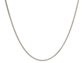14k White Gold Curb Link Chain Necklace 20 inch 2mm