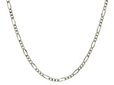 14k White Gold Figaro Link Chain Necklace 18 inch 3mm