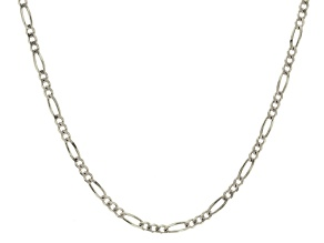 14k White Gold Figaro Link Chain Necklace 24 inch 3mm