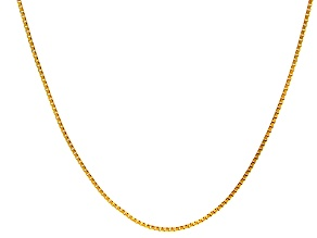 14k Yellow Gold Square Box Link Chain Necklace 24 inch