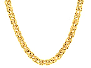14k Yellow Gold Hollow Byzantine Link Chain Necklace 18 inch 7mm