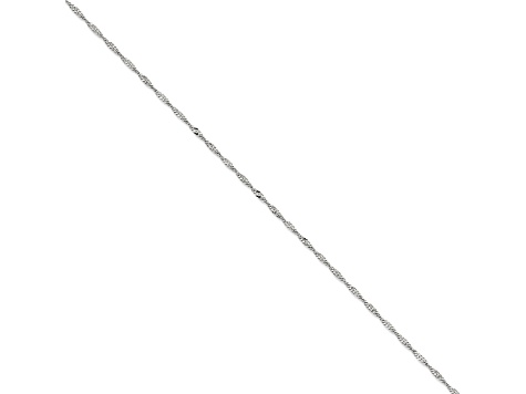 14k White Gold Singapore Link Chain Necklace 16 inch 2mm