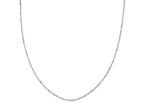 14k White Gold Singapore Link Chain Necklace 18 inch 2mm