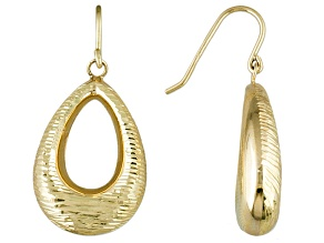 10k Yellow Gold Hollow Teardrop Dangle Earrings