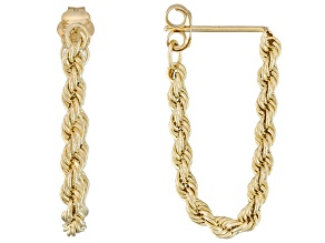 10k Yellow Gold Hollow Rope Link Earrings