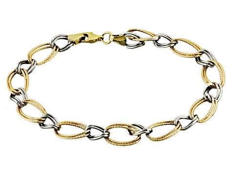 10k Yellow Gold & 10k White Gold Hollow Double Curb Link Link 1 + 1 Bracelet