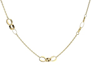 10k Yellow Gold Triple Twist Oval Stations Cable Link Necklace 18 inch