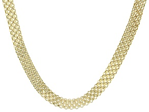14k Yellow Gold Hollow Bismark Link Chain Necklace 18 inch 5.5mm