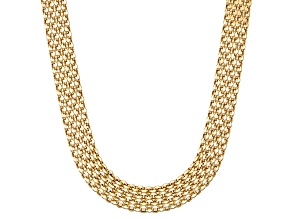 14k Yellow Gold Hollow Bismark Link Chain Necklace 20 inch 5.5mm