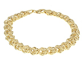 14k Yellow Gold Hollow Rosetta Link Bracelet 7.5 inch 8.5mm