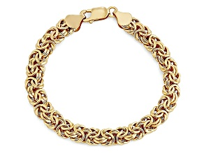 14k Yellow Gold Hollow Byzantine Link Bracelet 8 inch 7mm