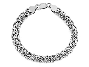 14k white gold hollow byzantine link bracelet 8 inch 7mm