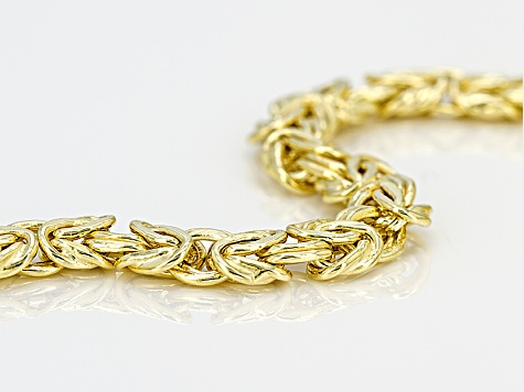 14k yellow gold hollow flat byzantine link bracelet 7.25 inch 5.5mm