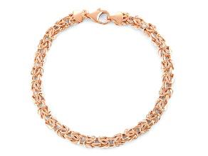 14k Rose Gold Hollow Flat Byzantine Link Bracelet 7.25 inch 5.5mm