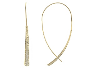 14k Yellow Gold Hollow Diamond Cut Threader Earrings