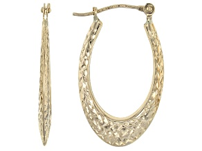 14k Yellow Gold Diamond Cut Oval Tube Hoop Earrings