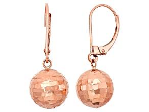 10k Rose Gold Hollow Hammered Ball Earrings