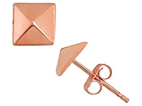 14k Rose Gold Hollow Pyramid Stud Earrings